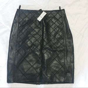 100% leather pencil skirt